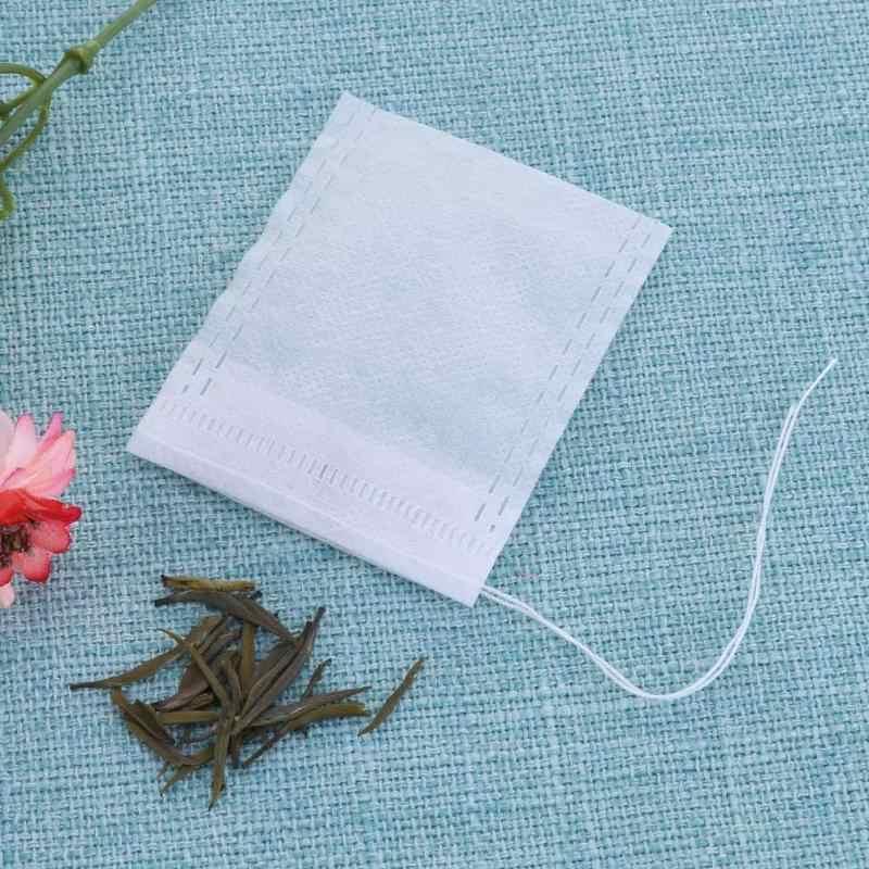 100 Uds. Bolsa vacía perfumada con cordón ajustable, bolsa de medicina casera con cordón, bolsa de filtro vacía para té y especias, bolsas de café, herramientas