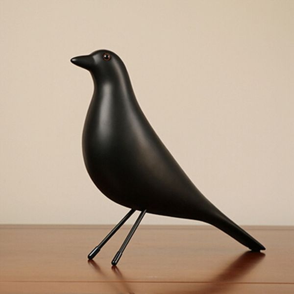 Resin Craft Bird Figurine Statue Office Ornaments Sculpture Home Decoration Accessories Bird Sculpture Black