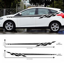 2pcs Universal Grid waist line Graphic Stickers Auto Car Body Side Door BK Decals Styling Accessories