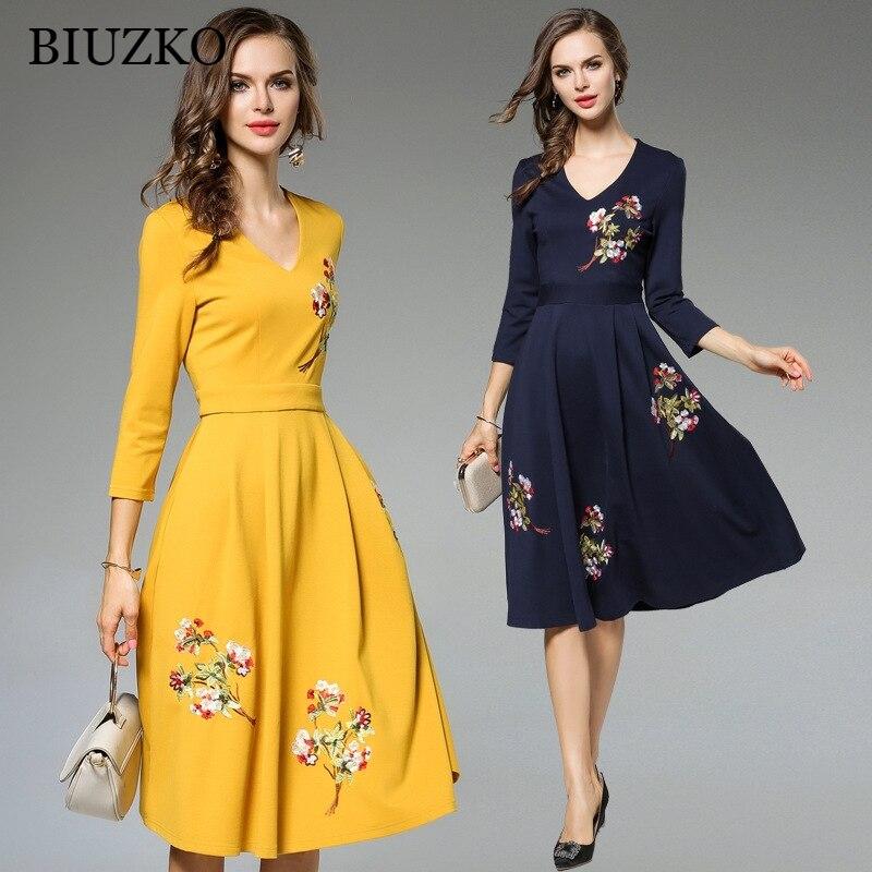 53ddb0fc384 Elegant Flower Embroidery A-Line Dress Women Three Quarter Sleeve V Neck  Yellow Summer Dresses