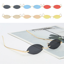 Small metallic multi-color rimless sunglasses mens retro oval glasses womens mirror-like mini
