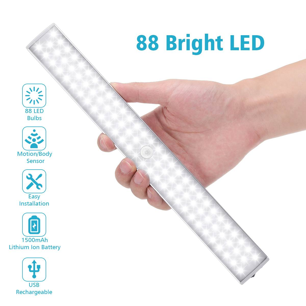 Cabinet Lamps USB Rechargeable 88 LED Night Lights Human body induction Bar Light LED Tube 6500k Decora Wardrobe Kitchen LampsCabinet Lamps USB Rechargeable 88 LED Night Lights Human body induction Bar Light LED Tube 6500k Decora Wardrobe Kitchen Lamps