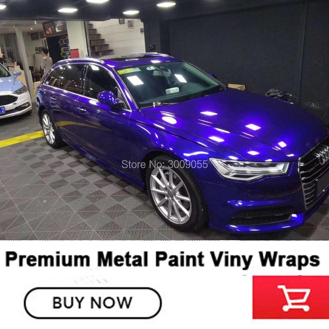 Highlight Metal Blue Color Gloss Metallic Full Wrap Car Vinyl Wraps