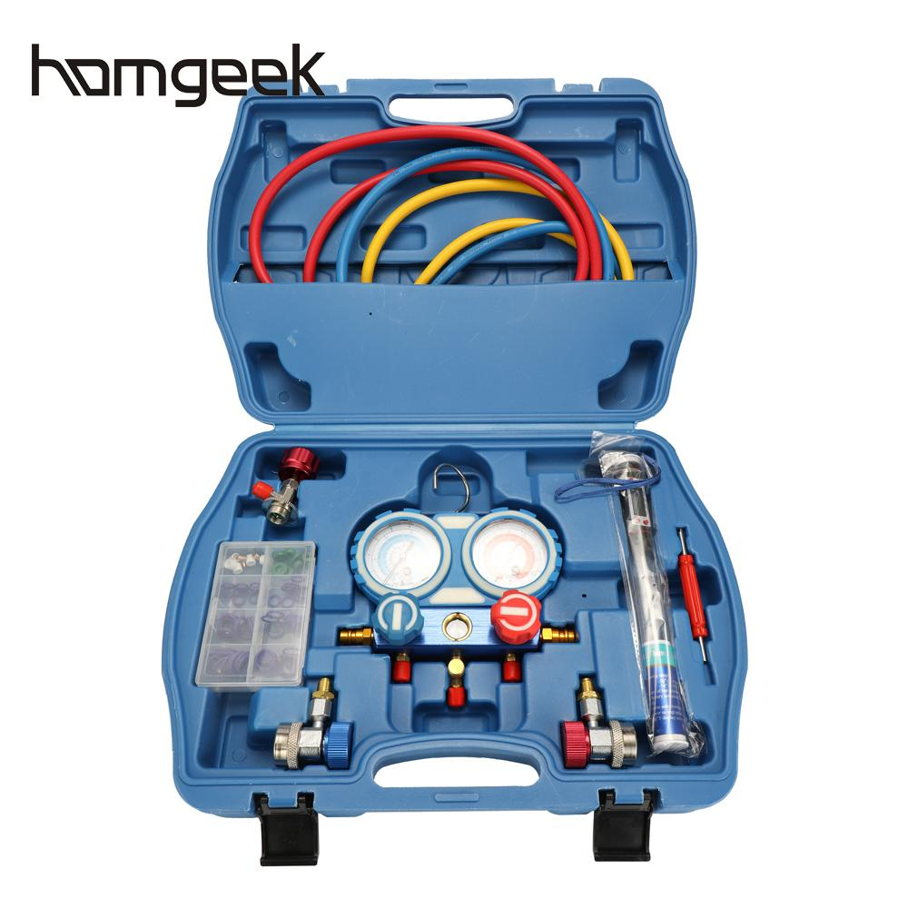 Air Conditioning Refrigerant Freon Valve Pressure Gauge with Seal Rings Diagnostic Repairing Tool Kit peltier air