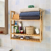 SoBuy FRG28 Bamboo 3 Tiers Wall Shelves, Bathroom Kitchen Living Room Storage Racks