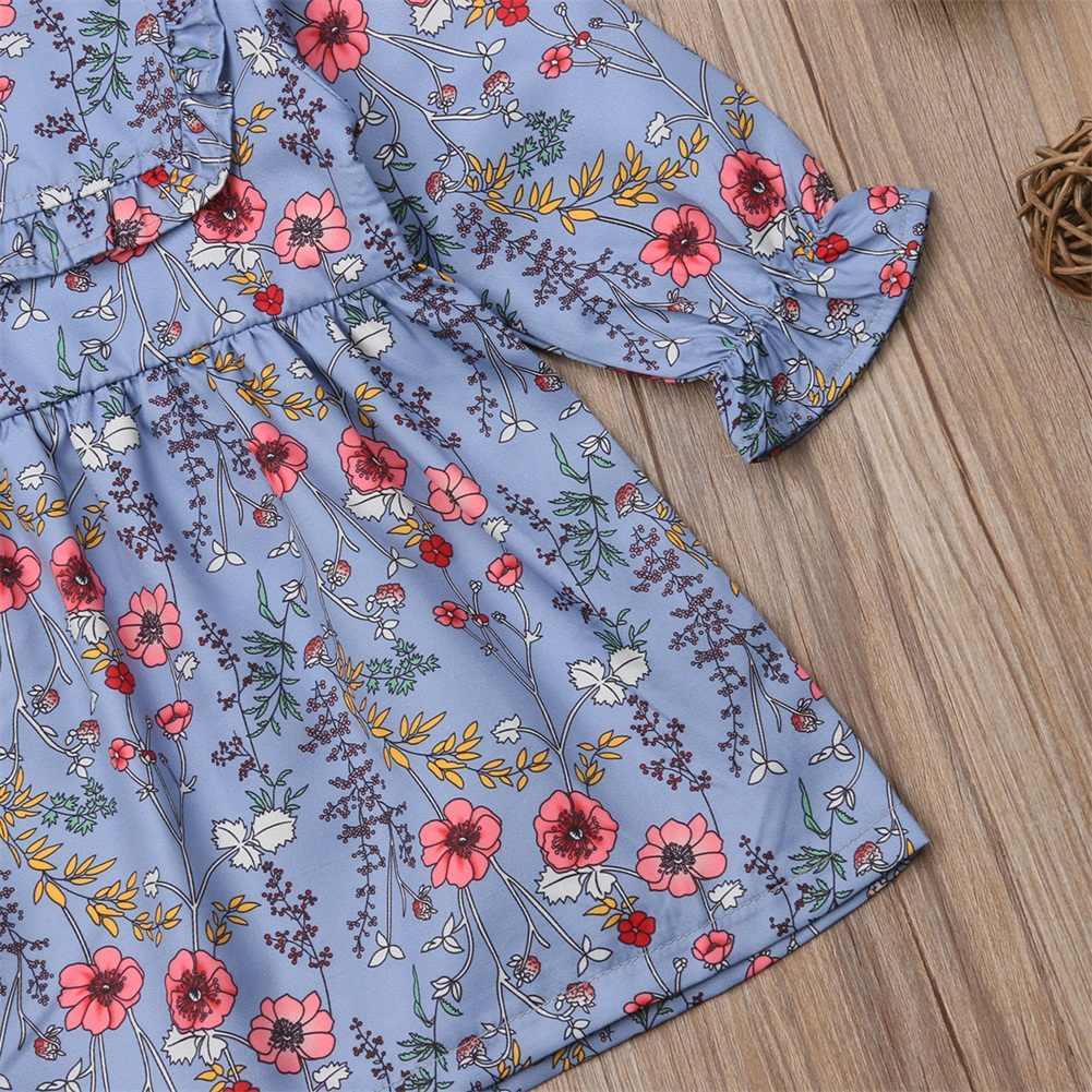 Pudcoco/Новинка 2019 года; Брендовое повседневное милое платье с длинными рукавами и цветочным рисунком для маленьких девочек