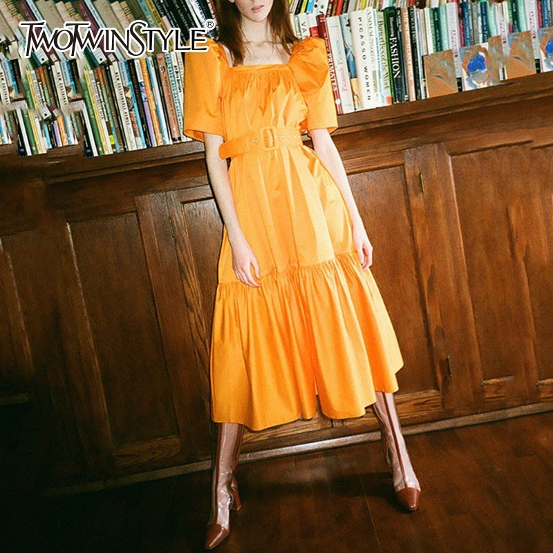 TWOTWINSTYLE Square Collar Dresses Women Puff Short Sleeve High Waist With Sashes Midi Dress Female Vintage