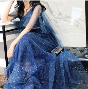 Luxury Long Women Evening Gowns V-neck Floor-Length Elegant Banquet Dress Wedding Lace-Up Tulle Prom Party Dresses недорого