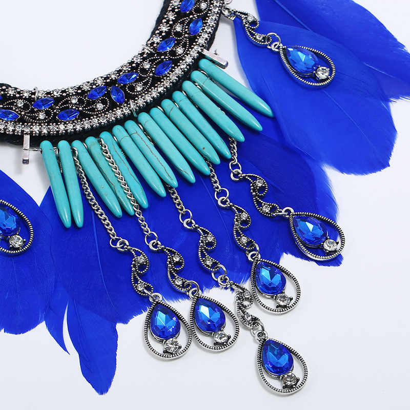 אירופאי ואמריקאי אופנה אקזוטי סגסוגת תכשיטי ריינסטון נוצת עם גדול שרשרת עגילי חתונה סט