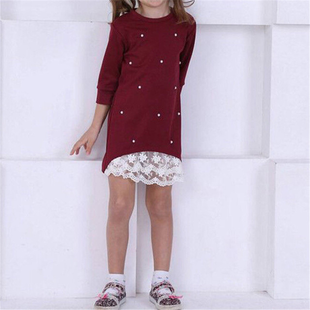 2019 Mommy and me family matching mother daughter dresses clothes solid mom and daughter pearl dress kids parent child outfits 3
