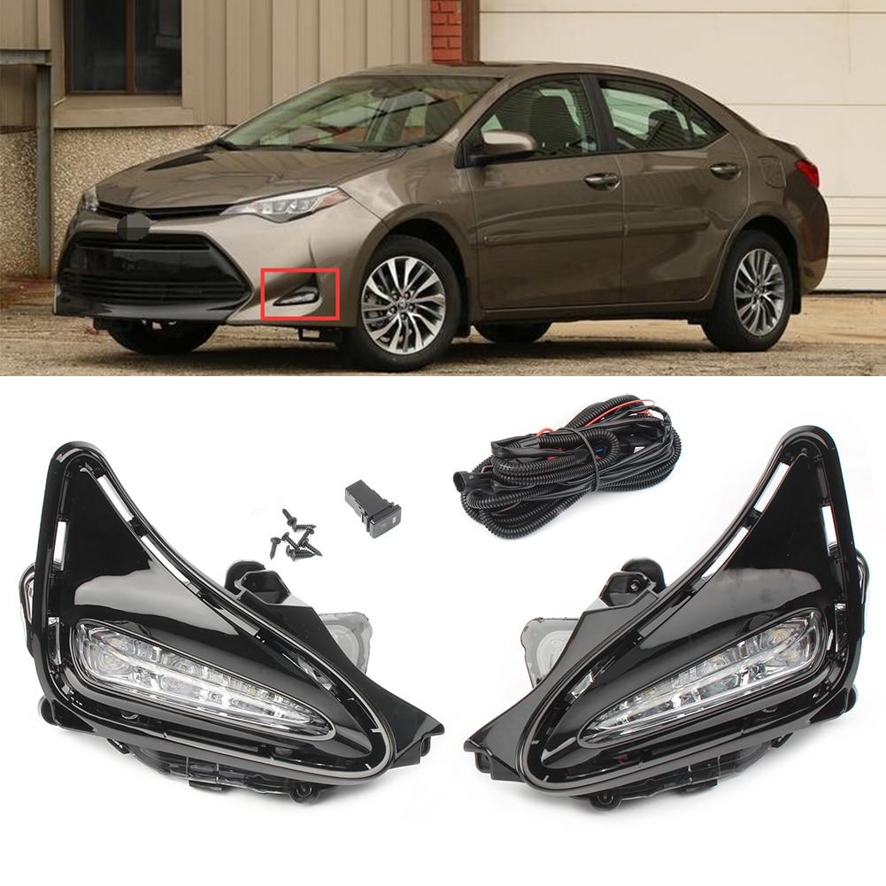 LED blanche DRL feux de jour feux antibrouillard lampe pour Toyota Corolla 2017 2018 17 18 Auto pièces de voiture accessoires