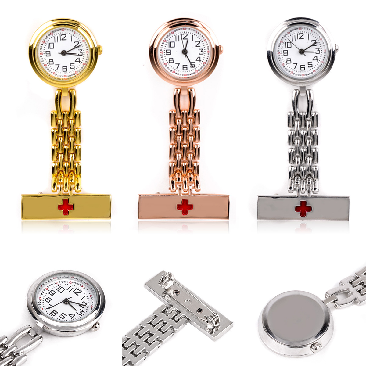 Shellhard Round Dial Red Cross Nurse Watches 3 Colors Brooch Fob Quartz Nurse Clip on Hanging Medical Pocket Watch