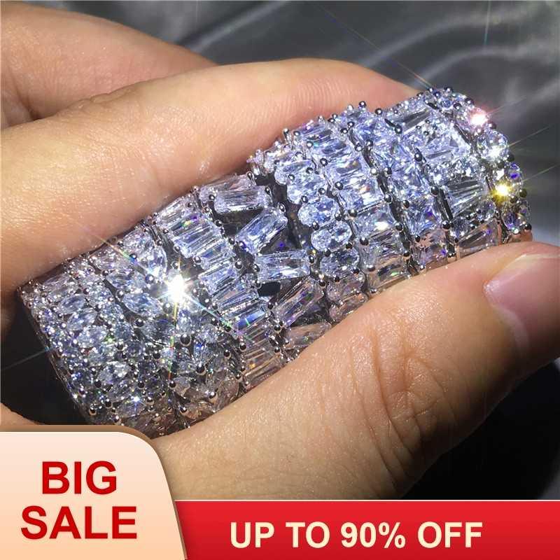 9 รูปแบบยี่ห้อนิ้วมือ AAAAA Cz Sona หิน 925 เงินสเตอร์ลิงแหวนหมั้นแหวนผู้ชายลายนิ้วมือเครื่องประดับ
