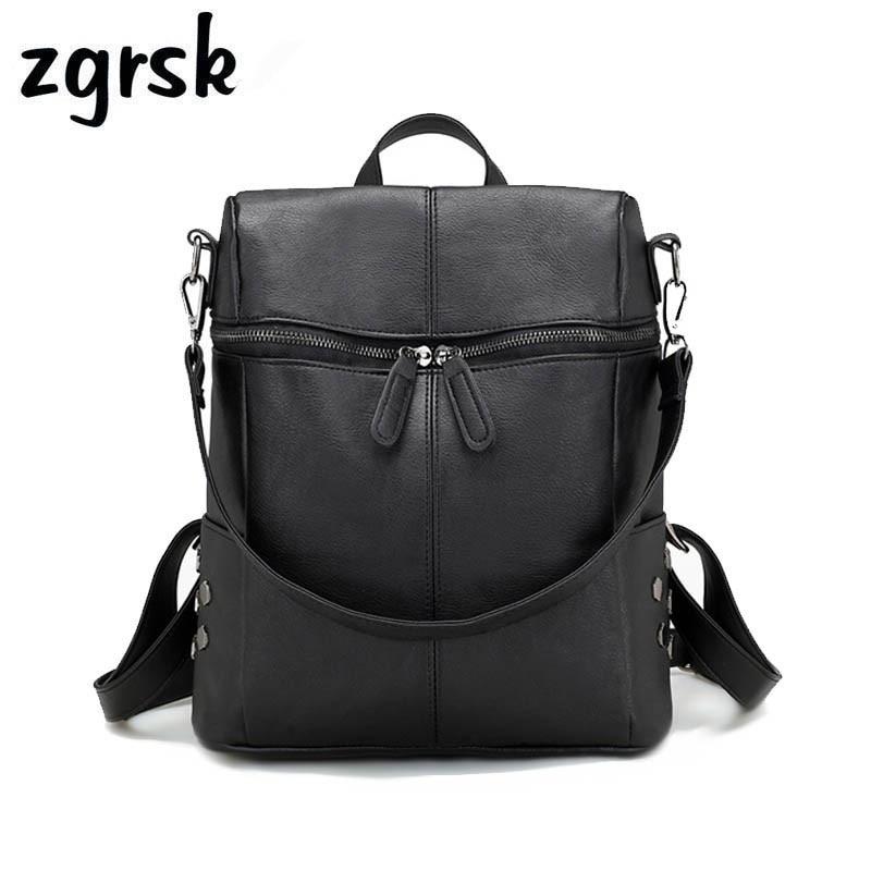 Lady Pu Leather Anti Theft Backpack Women Shoulder Bag Double Zipper School Bags For Teenage Girls Backpacks Rucksack