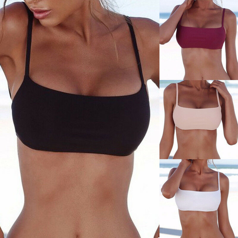 Dropship New Unpadded Bikini Top Sexy Pure Color Swimwear Women Bathing Suit Women Swimming Top Monokini Crop Top New Only Top