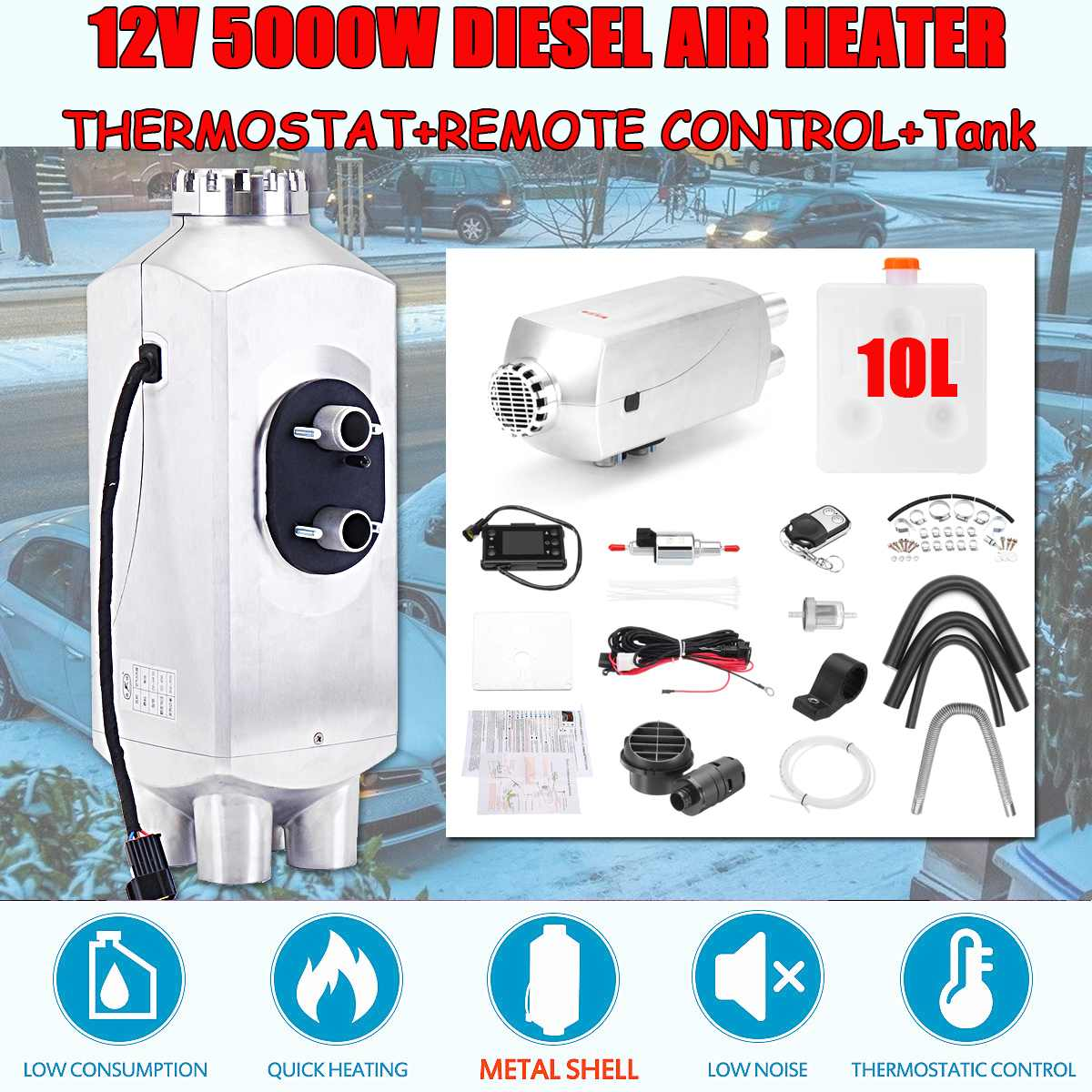 5KW 12V Metal Car Trailer Heater Diesel Air Heater Parking Heater 10L Tank and Remote Control