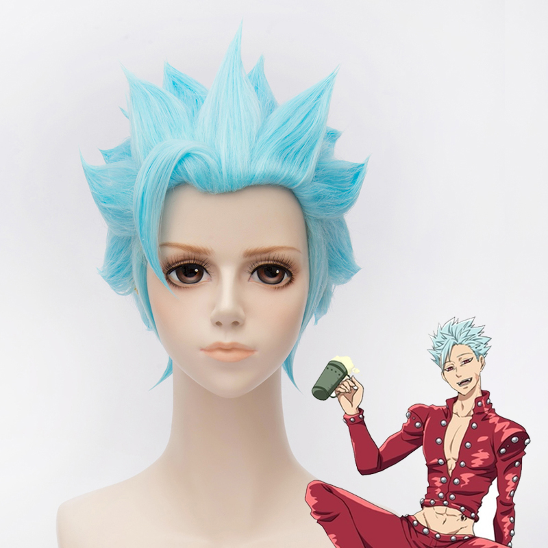 The Seven Deadly Sins Fox's Sin of Greed Ban Cosplay Wig Mens ban blue hair wig +free hair cap image