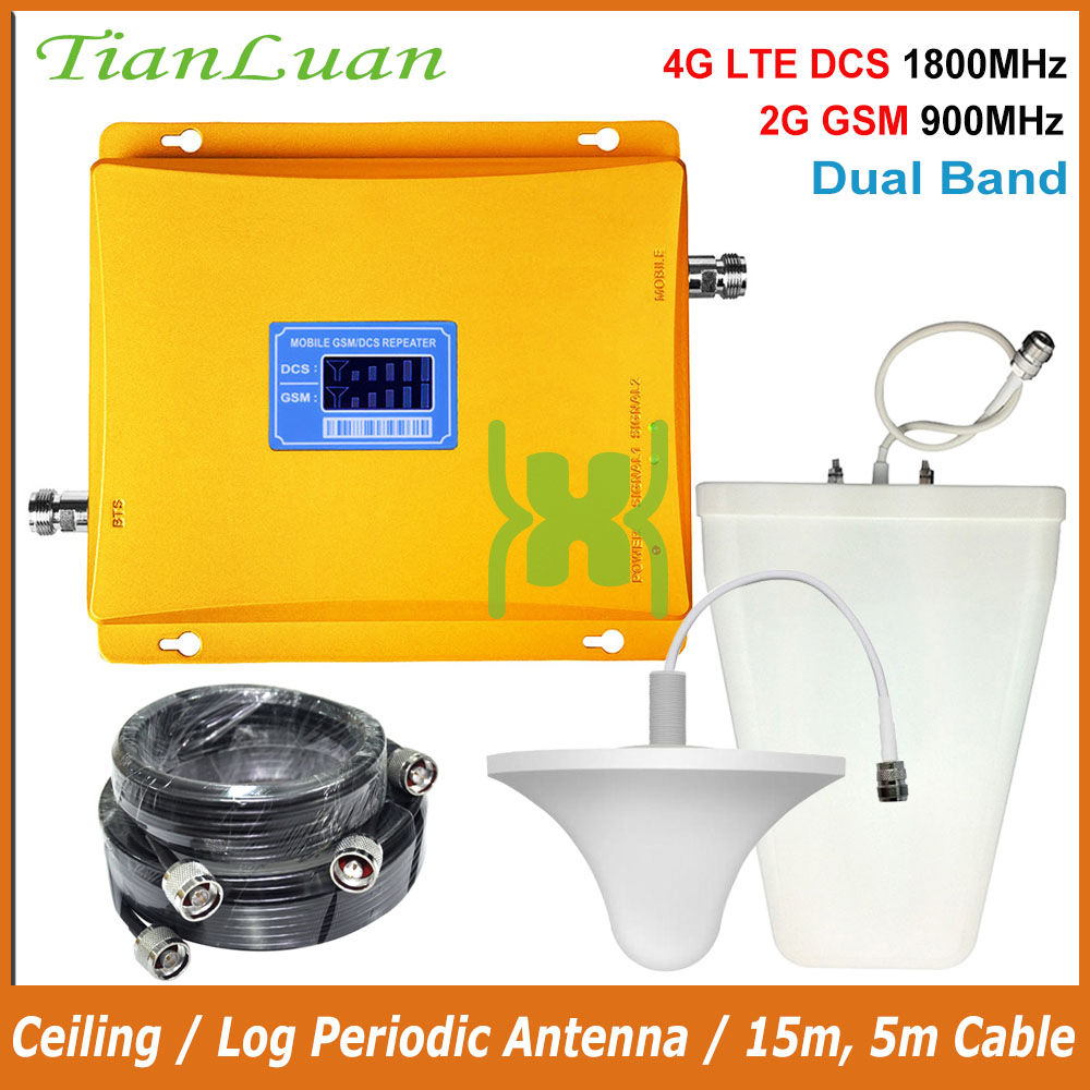 TianLuan 4G LTE DCS 1800MHz 2G GSM 900Mhz Dual Band Mobile Phone Signal Booster 2G 4G Signal Repeater / LCD Display / Full Set