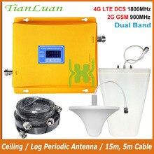 TianLuan amplificador de señal de teléfono móvil 4G LTE DCS 1800MHz 2G GSM 900Mhz, banda Dual, repetidor de señal 2G 4G, pantalla LCD, juego completo