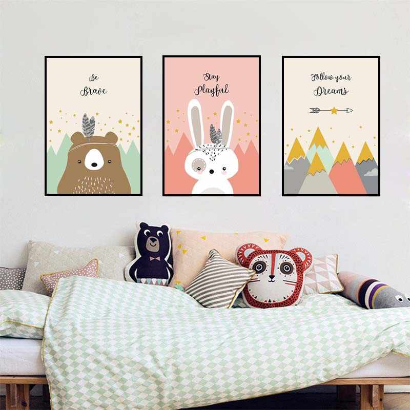 Nordic Children's Room Decoration Painting Cartoon Animal Rabbit Unframed Painting Canvas Wall Art Drawing Picture Nursery
