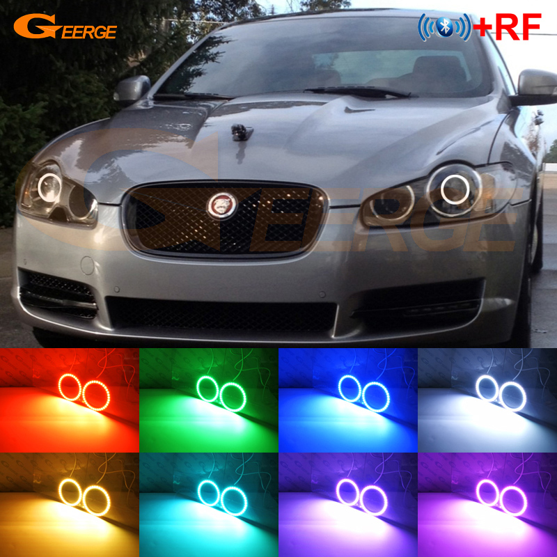 For JAGUAR XF 2009 2010 2011 XENON HEADLIGHT Excellent RF Bluetooth APP Controller Multi-Color RGB LED Angel Eyes kitFor JAGUAR XF 2009 2010 2011 XENON HEADLIGHT Excellent RF Bluetooth APP Controller Multi-Color RGB LED Angel Eyes kit