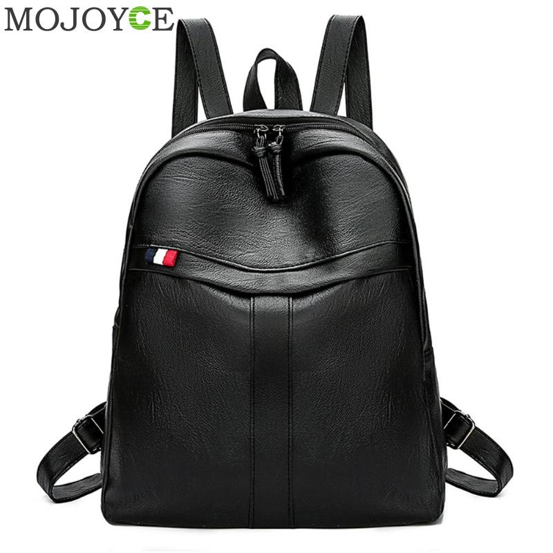 Large Capacity PU Leather Women Backpack Fashion Solid  Travel School Bags For Teenager Girls Casual Women Black Backpacks