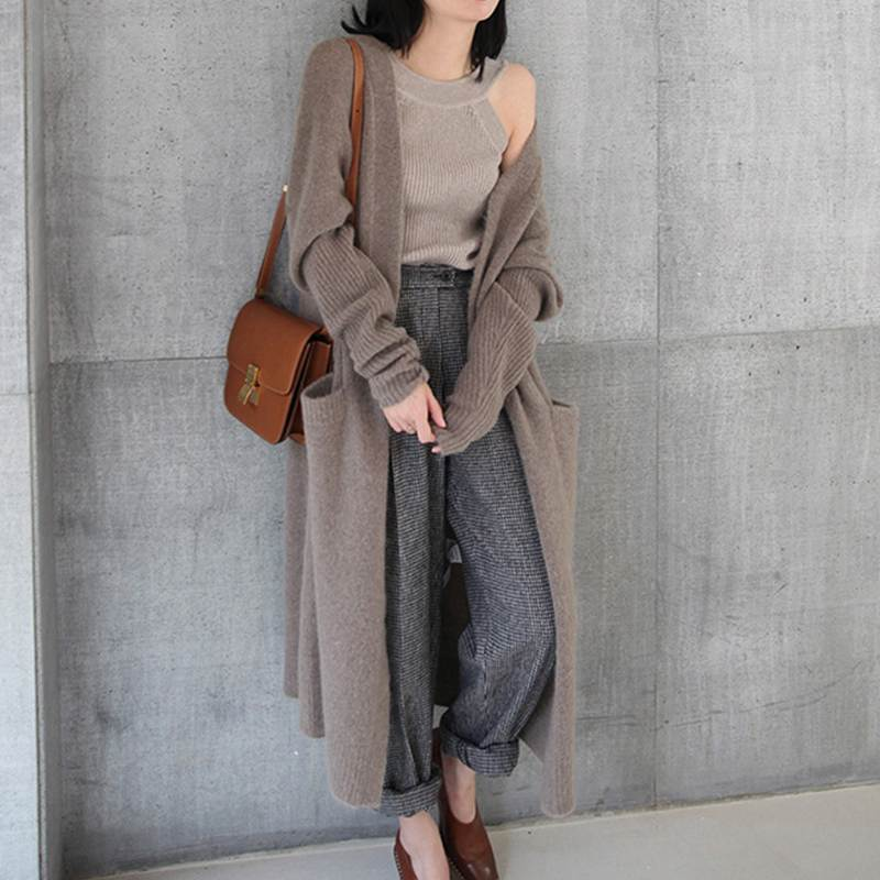 Miuye yuren Parka Jacket Women Lapel Suit Jacket Tops Plain Long Sleeve Outerwear Button Down Cardigan