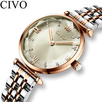 CIVO Fashion Luxury Top Brand Ladies Watch Gold Steel Strap Waterproof Dress Watches Womens Bracelet Wristwatch Clock For Woman