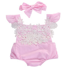 New Summer Newborn Toddler Baby Girl Lace Floral Jumpsuit Outfits Sunsuit Clothes Baby Girl Bodysuits Cotton O-neck(China)