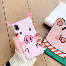 Silicone Cute Luxury Case For iphone 6 6S 7 8 Plus X Xs Max Xr Phone Cases For iphone 7 plus Case soft TPU cartoon pig ear цена и фото