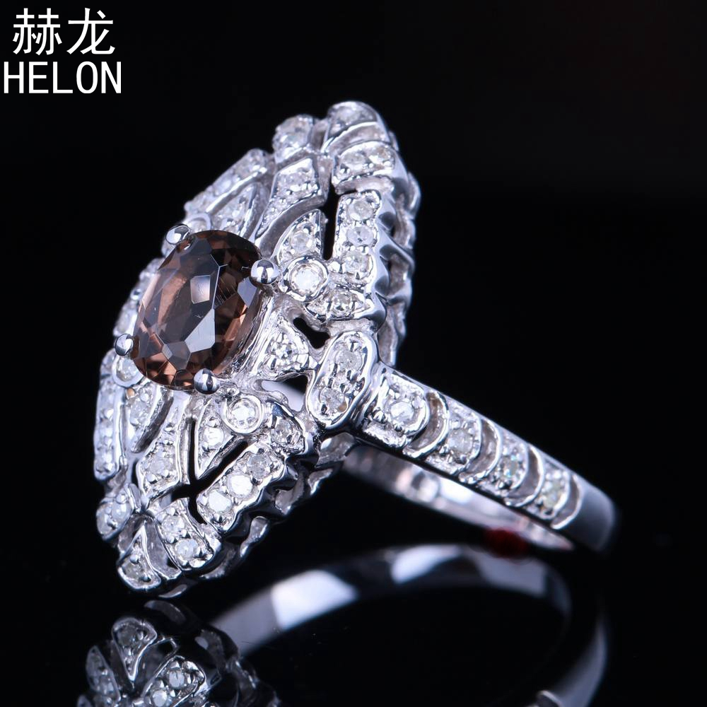 Vintage 925 Sterling Silver and 10K Yellow Gold Fashin Ring with Smokey Quartz