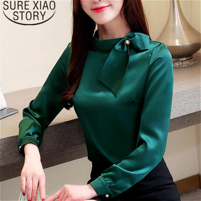 Womens tops blouses blusas mujer de moda 2019 chiffon blouse Bow Solid Stand vrouwen blouse lange mouwen plus size 2223 50