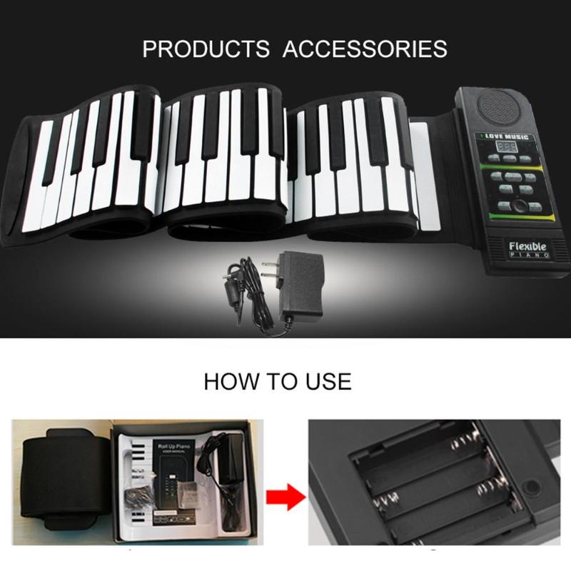 Portable 88 clés souple Silicone retrousser Piano pliant clavier pour enfants étudiant PN88S Instruments de musique