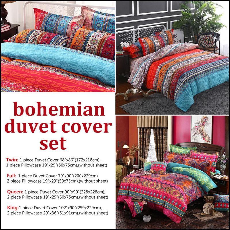 Home Aihome Bohemian Bedding Set Luxury 4pcs Bed Linens Set King Queen Size Duvet Cover Boho Style Girl Bedding Decoration 4