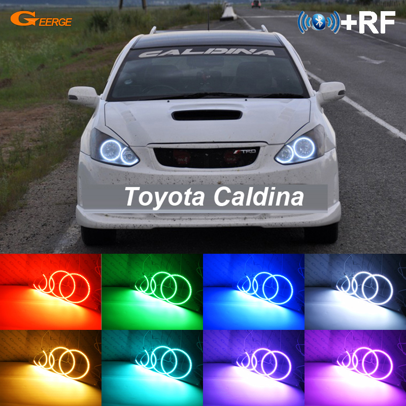 Voor Toyota Caldina T240 2002 2003 2004 RF Bluetooth-controller Multi-color Ultra heldere RGB LED Angel Eyes Halo Ring kit