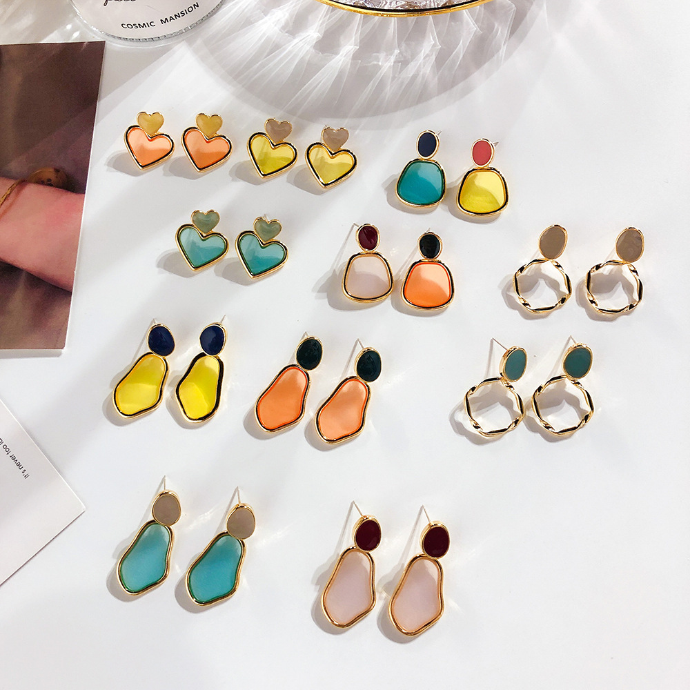 Korea 2019 Spring and Summer New Color drop Transparent Acrylic Earrings Ms small Fresh Candy color Geometric Earrings Jewelry in Drop Earrings from Jewelry Accessories