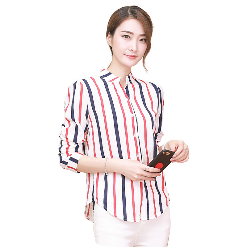 2019 Spring Autumn Women Colorful Stripe Shirt Korean Long Sleeve Office Blouses Casual Female Slim Chiffon Print Shirts in Blouses amp Shirts from Women 39 s Clothing