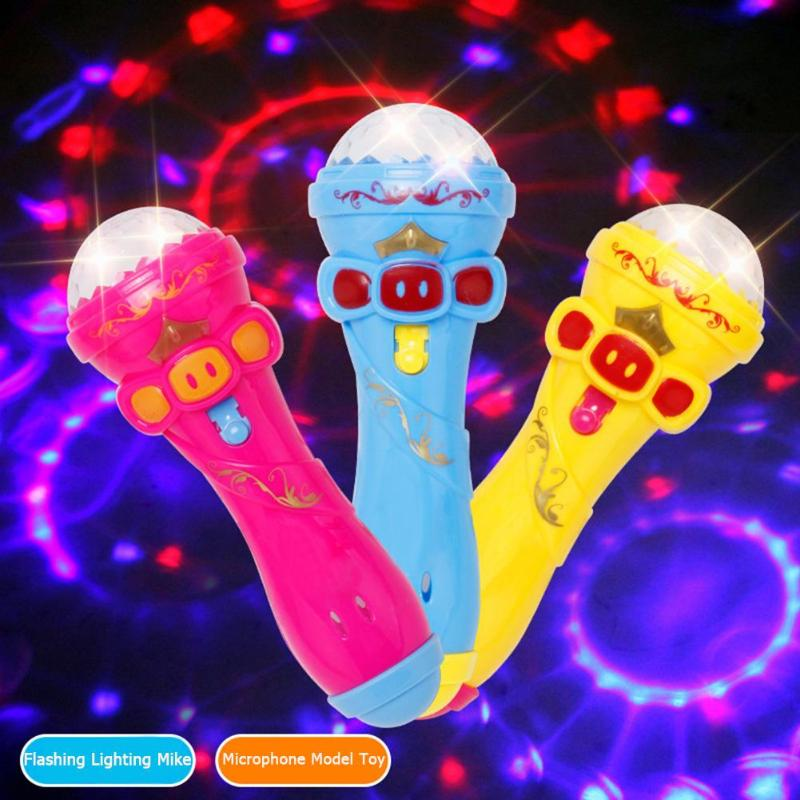 Flashing Projector Microphone Model Lighting Toys Wireless Music Karaoke Micro Kids Toy Gift Creative Funny Dynamic Shine Toys