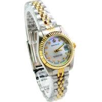 2018 רג 'ינלד למעלה מותג קוורץ גברת שעון אישה יוקרה זהב מחורצים הקדמי פרל יהלומי חיוג מלא נירוסטה זוהר שעונים-בשעונים לנשים מתוך שעונים באתר