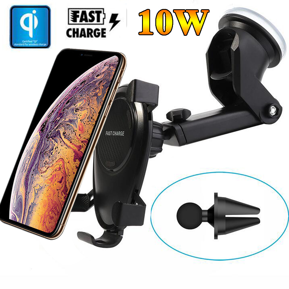 Jetjoy, 10W QI Wireless Fast Charger Car Mount Holder Stand For iPhone XS Max Samsung Galaxy S9/S9+ Note 9 Huawei Mate 20 ProJetjoy, 10W QI Wireless Fast Charger Car Mount Holder Stand For iPhone XS Max Samsung Galaxy S9/S9+ Note 9 Huawei Mate 20 Pro