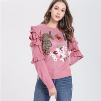 2019 spring and autumn pink sweater women knitted fashion thin pullovers S,M,L