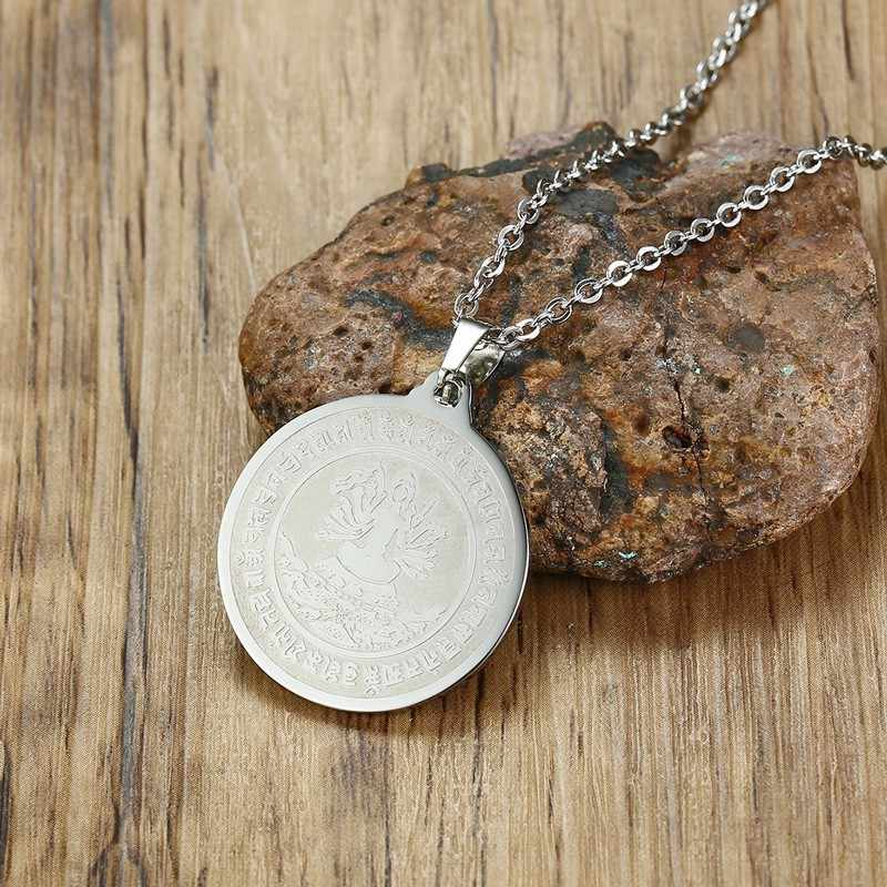 Thousand Hands Kuanyin Buddha Pendants Necklace Men Stainless Steel Goddess Of Mercy In Chain Man Coin Medallion Jewelry