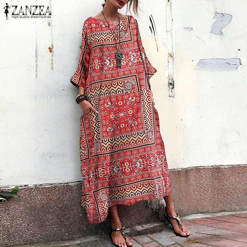 Summer Sundress Women Long Maxi Dress ZANZEA 2019 Ladies Long Sleeve Vestidos Vintage Bohemian Printed Robe Femme Stripe Dresses in Dresses from Women 39 s Clothing