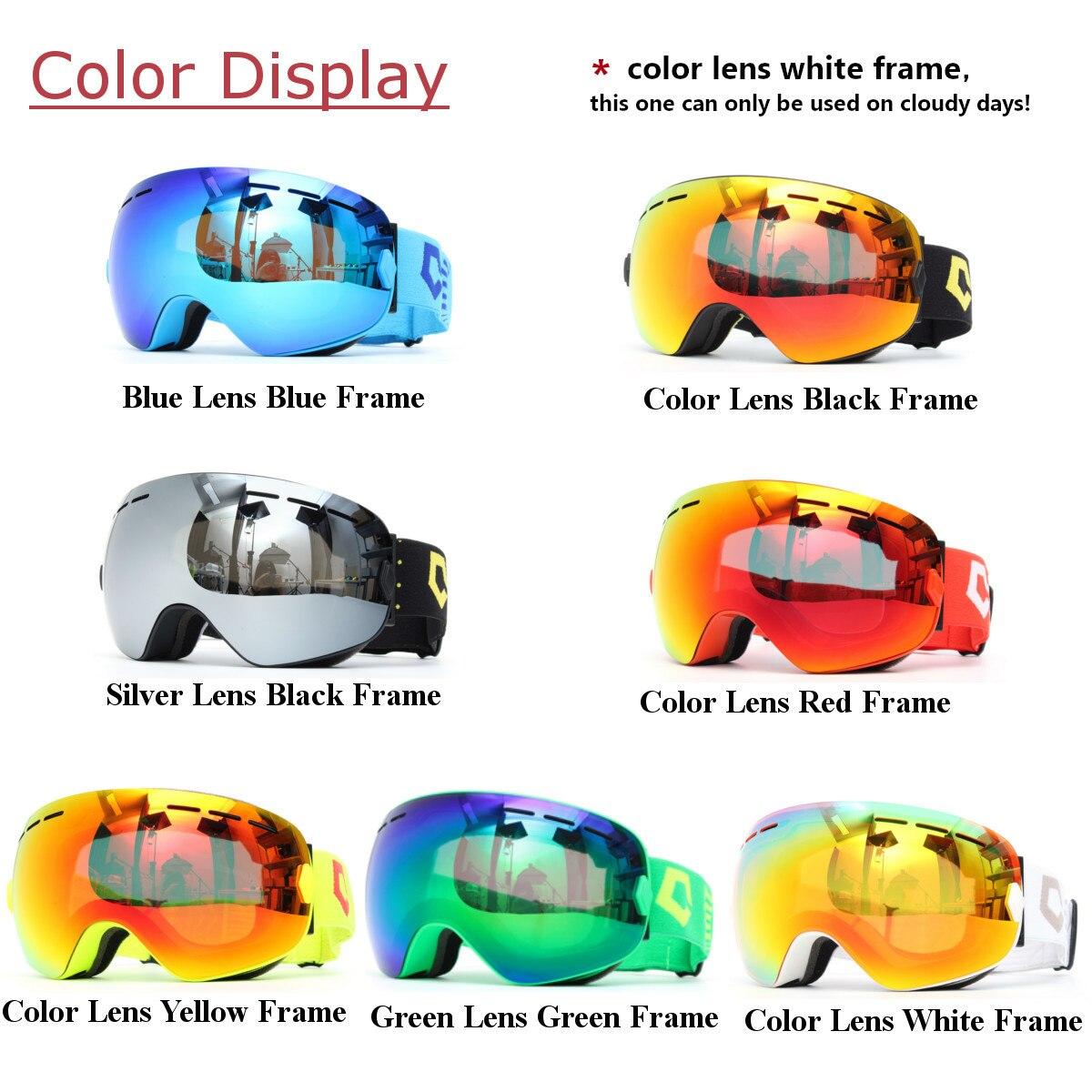 Лыжные очки для сноуборда, двухслойные линзы, сферическая Защита от УФ-излучения, анти-туман, для мужчин и женщин
