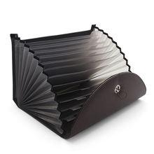 Erweiterbar Tragbare Aktentasche PU Leder Business Datei Veranstalter Tasche A4 und Brief Größe 13 Taschen (Braun)