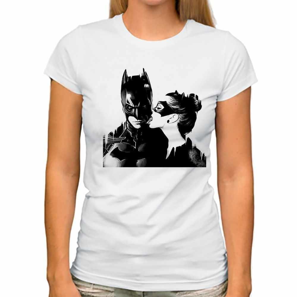 90d6817cb0194 Catwomen лизать поцелуй Бэтмен забавная футболка новинки для женщин белый  повседневное короткий рукав femme кавайная футболка