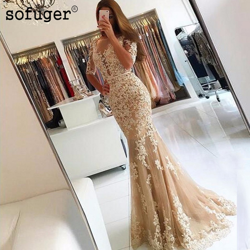 Half Sleeves Backless Formal Evening Gowns Illusion Sheer Scoop Tulle Lace Champagne Mermaid Prom Dresses Long 2018