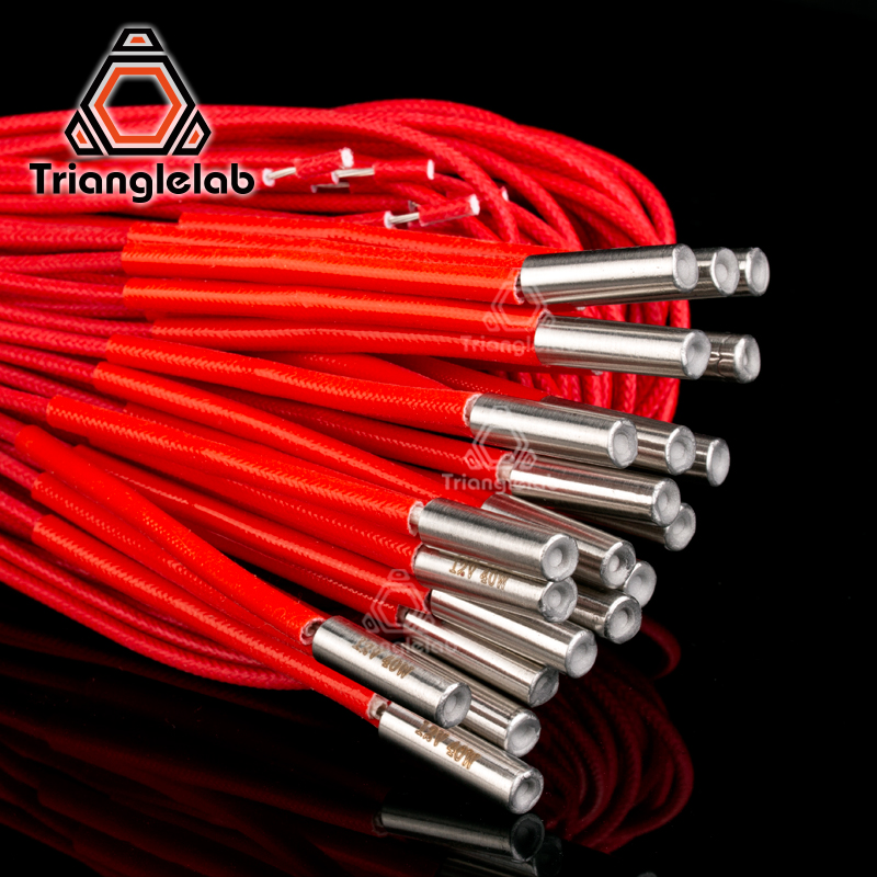 Trianglelab  3D Printer  6*20MM 12V / 24V 40W Heater Cartridge With 100CM cable For  3D Printer for PT100 HOTEND Volcano MK8 MK9Trianglelab  3D Printer  6*20MM 12V / 24V 40W Heater Cartridge With 100CM cable For  3D Printer for PT100 HOTEND Volcano MK8 MK9