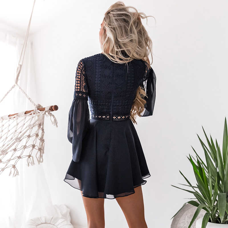 Винтаж кружевное летнее платье-мини, из ткани Для женщин элегантные крест-накрест повязки кружево полупрозрачное газовое платье v-образным вырезом с длинным рукавом, модная одежда, вечерние платья