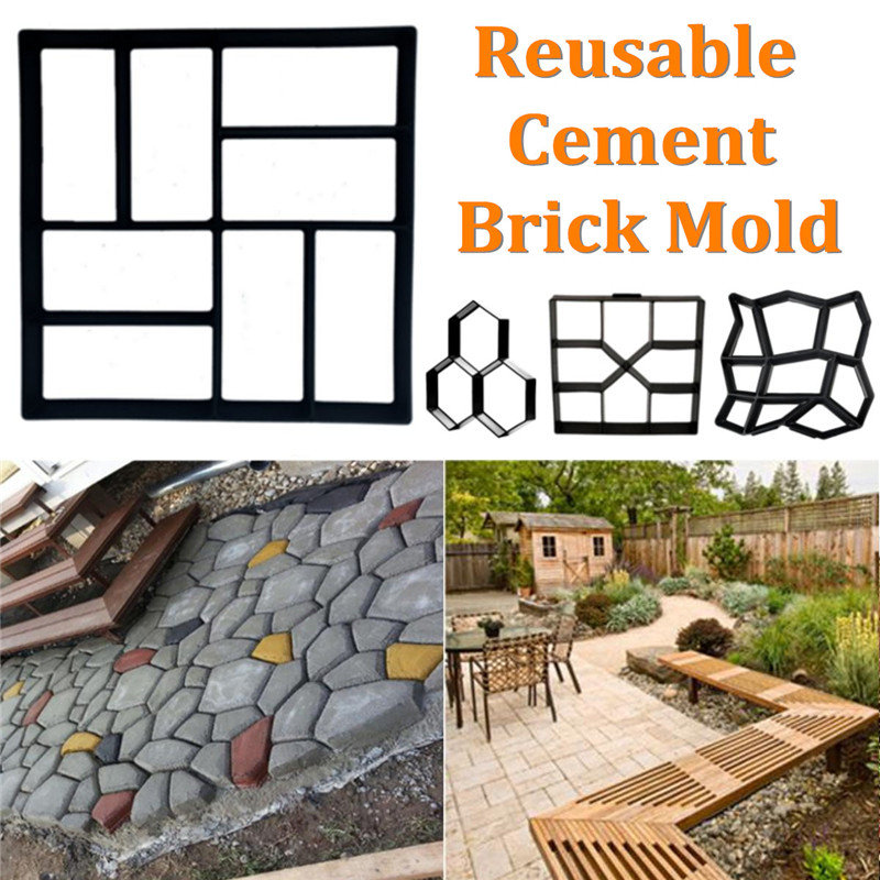 Garden DIY Plastic Path Maker Mold Manually Paving Courtyard Stone Road Cement Brick Garden Buildings Cement Floor Tile MoldsGarden DIY Plastic Path Maker Mold Manually Paving Courtyard Stone Road Cement Brick Garden Buildings Cement Floor Tile Molds